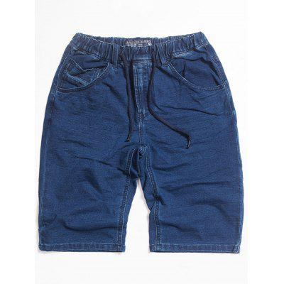 Drawstring Dark Wash Denim Shorts