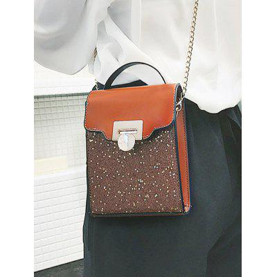 Flap Glitters Crossbody Bag with Handle clear wood handle bag with sequin pouch