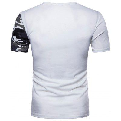 Camo Splicing Short Sleeve T-shirtMens Short Sleeve Tees<br>Camo Splicing Short Sleeve T-shirt<br><br>Collar: Crew Neck<br>Material: Cotton, Polyester<br>Package Contents: 1 x T-shirt<br>Pattern Type: Camouflage<br>Sleeve Length: Short<br>Weight: 0.2200kg