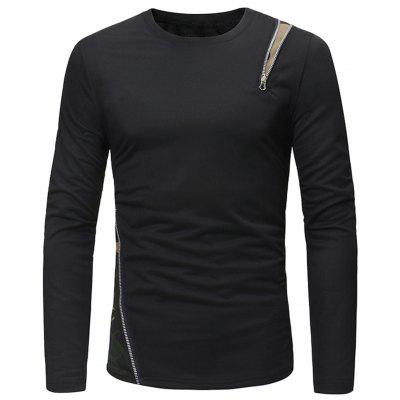 Crew Neck Camo Zipper Embellished T-shirt