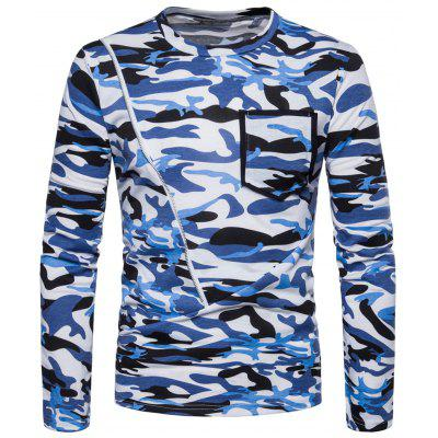 Camouflage Pattern Zipper Long Sleeve T-shirt