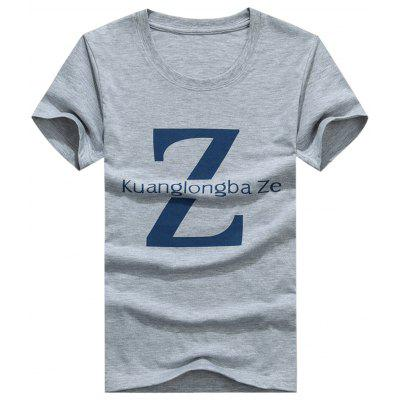 Buy Crew Neck Letter Z Print T-shirt, GRAY, XL, Apparel, Men's Clothing, Men's T-shirts, Men's Short Sleeve Tees for $11.95 in GearBest store