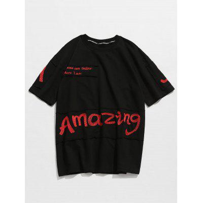 Letter Embroidered Short Sleeve Tee