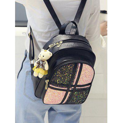 3 Pieces Glitters Color Block Backpack Set