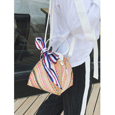 Geometric Straw Vacation Style Crossbody Bag contrast piping straw bag