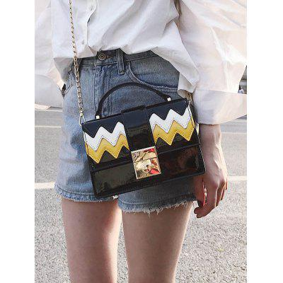 Patent Leather Wave Pattern Chain Crossbody Bag chain houndstooth print crossbody bag