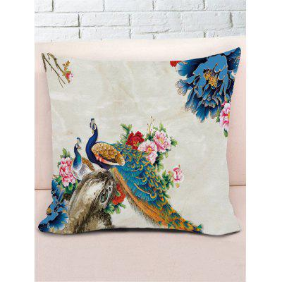 Peacock Flower Printed Decorative Sofa PillowcasePillow<br>Peacock Flower Printed Decorative Sofa Pillowcase<br><br>Material: Polyester / Cotton<br>Package Contents: 1 x Pillowcase<br>Pattern: Animal,Floral<br>Shape: Square<br>Style: Natural<br>Weight: 0.1000kg
