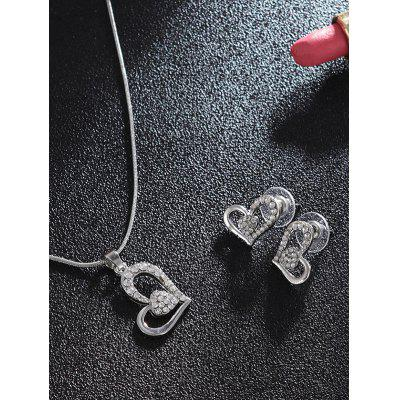 Heart Shaped Rhinestones Dangle Jewlery Set