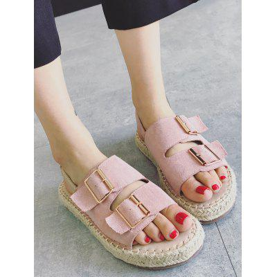 Espadrille Buckled Embellishment SandalsWomens Sandals<br>Espadrille Buckled Embellishment Sandals<br><br>Closure Type: Elastic band<br>Embellishment: Buckle<br>Gender: For Women<br>Heel Height: 2CM<br>Heel Height Range: Low(0.75-1.5)<br>Heel Type: Low Heel<br>Occasion: Casual<br>Package Contents: 1 x Sandals (pair)<br>Pattern Type: Solid<br>Sandals Style: Slides<br>Shoe Width: Medium(B/M)<br>Style: Leisure<br>Upper Material: Synthetic<br>Weight: 1.1400kg