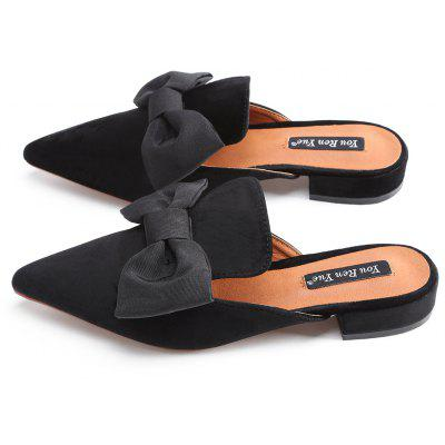 Faux Suede Bowknot Pointed Toe Mules ShoesWomens Flats<br>Faux Suede Bowknot Pointed Toe Mules Shoes<br><br>Closure Type: Slip-On<br>Flat Type: Slip-On<br>Gender: For Women<br>Heel Height Range: Flat(0-0.5)<br>Occasion: Casual<br>Package Contents: 1 x Mules Shoes (pair)<br>Pattern Type: Bowknot<br>Season: Spring/Fall, Summer<br>Shoe Width: Medium(B/M)<br>Toe Shape: Pointed Toe<br>Toe Style: Closed Toe<br>Upper Material: Suede<br>Weight: 1.0800kg