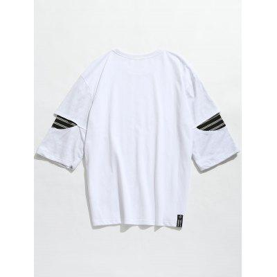 Striped Insert Cut Out Sleeve TeeMens Short Sleeve Tees<br>Striped Insert Cut Out Sleeve Tee<br><br>Collar: Round Neck<br>Material: Cotton<br>Package Contents: 1 x Tee<br>Pattern Type: Striped<br>Sleeve Length: Three Quarter<br>Style: Casual, Fashion<br>Weight: 0.3400kg