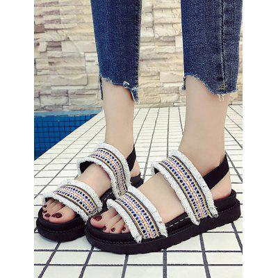 Antiskid Ethnic Cloth Fringe Rubber SandalsWomens Sandals<br>Antiskid Ethnic Cloth Fringe Rubber Sandals<br><br>Closure Type: Slip-On<br>Gender: For Women<br>Heel Height Range: Low(0.75-1.5)<br>Heel Type: Platform<br>Occasion: Casual<br>Package Contents: 1 x Sandals (pair)<br>Pattern Type: Others<br>Sandals Style: Gladiator<br>Shoe Width: Medium(B/M)<br>Style: Retro<br>Upper Material: Cloth<br>Weight: 1.2000kg