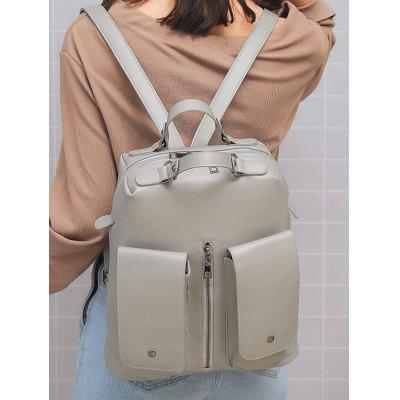 School Style Double Pocket PU Leather Travel Backpack cdj2d 10 16mm mini pneumatic cylinder double acting double clevis style more types refer to form