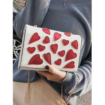 Heart Printed Patchwork Covered Chain Shoulder Bag heart shaped decor star chain bag
