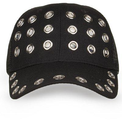 Hollow Out Metal Rings Mesh Baseball HatMens Hats<br>Hollow Out Metal Rings Mesh Baseball Hat<br><br>Gender: For Men<br>Group: Adult<br>Hat Type: Baseball Caps<br>Material: Polyester<br>Package Contents: 1 x Hat<br>Pattern Type: Others<br>Style: Fashion<br>Weight: 0.1000kg