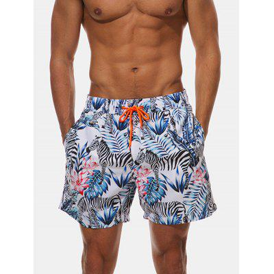 Allover Floral Leaves Print Hawaiian Shorts
