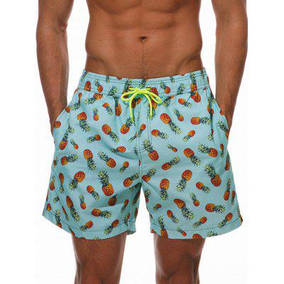 Allover Pineapple Print Pockets Beach Shorts