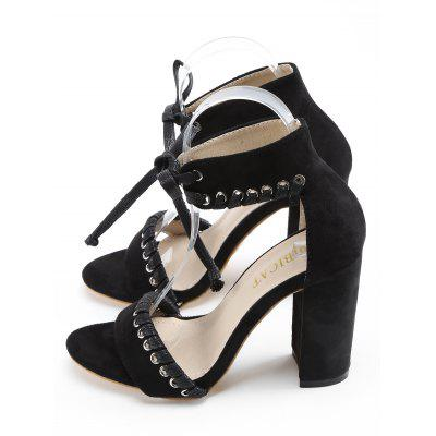 High Heel Whipstitch Ankle Strap SandalsWomens Sandals<br>High Heel Whipstitch Ankle Strap Sandals<br><br>Closure Type: Lace-Up<br>Gender: For Women<br>Heel Height: 10CM<br>Heel Height Range: High(3-3.99)<br>Heel Type: Chunky Heel<br>Occasion: Casual<br>Package Contents: 1 x Sandals (pair)<br>Pattern Type: Solid<br>Sandals Style: Ankle Strap<br>Shoe Width: Medium(B/M)<br>Style: Leisure<br>Upper Material: Suede<br>Weight: 1.5000kg