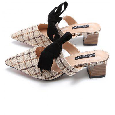 """Block Heel Pointed Toe Plaid Mules ShoesSlippers &amp; Flip-Flops<br>Block Heel Pointed Toe Plaid Mules Shoes<br><br>Embellishment: Bowknot<br>Gender: For Women<br>Heel Height: 5CM<br>Heel Height Range: Med(1.75""""-2.75"""")<br>Heel Type: Chunky Heel<br>Package Contents: 1 x Mules Shoes (pair)<br>Pattern Type: Bows<br>Season: Spring/Fall<br>Shoe Width: Medium(B/M)<br>Slipper Type: Outdoor<br>Style: Elegant<br>Upper Material: Synthetic<br>Weight: 1.2000kg"""