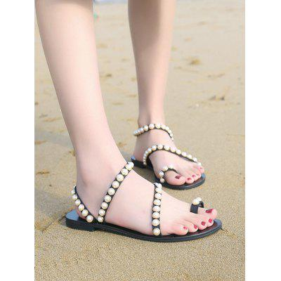 Pearl Studded PU Strap Clip Toe Flat SandalsWomens Sandals<br>Pearl Studded PU Strap Clip Toe Flat Sandals<br><br>Closure Type: Slip-On<br>Gender: For Women<br>Heel Type: Flat Heel<br>Occasion: Casual<br>Package Contents: 1 x Sandals (pair)<br>Pattern Type: Others<br>Sandals Style: Ankle-Wrap<br>Shoe Width: Medium(B/M)<br>Style: Fashion<br>Upper Material: PU<br>Weight: 1.2000kg