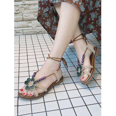 Lace Up Flower Bohemia SandalsWomens Sandals<br>Lace Up Flower Bohemia Sandals<br><br>Closure Type: Lace-Up<br>Embellishment: Flowers<br>Gender: For Women<br>Heel Height Range: Flat(0-0.5)<br>Heel Type: Flat Heel<br>Occasion: Casual<br>Package Contents: 1 x Sandals (pair)<br>Pattern Type: Floral<br>Sandals Style: Ankle Strap<br>Shoe Width: Medium(B/M)<br>Style: Leisure<br>Upper Material: PU<br>Weight: 1.0800kg