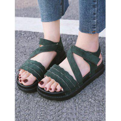 Ankle Strap Casual Scallop SandalsWomens Sandals<br>Ankle Strap Casual Scallop Sandals<br><br>Closure Type: Hook &amp; Loop<br>Gender: For Women<br>Heel Height: 3.5CM<br>Heel Height Range: Low(0.75-1.5)<br>Heel Type: Low Heel<br>Occasion: Casual<br>Package Contents: 1 x Sandals (pair)<br>Pattern Type: Solid<br>Sandals Style: Ankle Strap<br>Shoe Width: Medium(B/M)<br>Style: Leisure<br>Upper Material: Suede<br>Weight: 1.2000kg