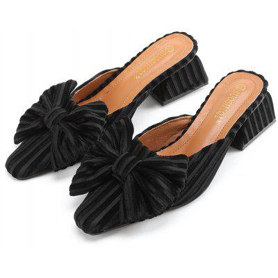 "Bow Velvet Chunky Heel SlippersSlippers &amp; Flip-Flops<br>Bow Velvet Chunky Heel Slippers<br><br>Gender: For Women<br>Heel Height Range: Med(1.75""-2.75"")<br>Heel Type: Chunky Heel<br>Package Contents: 1 x Slippers (pair)<br>Pattern Type: Bows<br>Season: Spring/Fall, Summer<br>Shoe Width: Medium(B/M)<br>Slipper Type: Outdoor<br>Style: Fashion<br>Upper Material: Velvet<br>Weight: 1.2000kg"