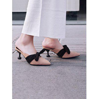 Pointed Toe Bowknot Mules ShoesWomens Sandals<br>Pointed Toe Bowknot Mules Shoes<br><br>Closure Type: Slip-On<br>Embellishment: Bow<br>Gender: For Women<br>Heel Height Range: Med(1.75-2.75)<br>Heel Type: Strange Style<br>Occasion: Casual<br>Package Contents: 1 x Mules Shoes (pair)<br>Pattern Type: Bowknot<br>Sandals Style: Slides<br>Shoe Width: Medium(B/M)<br>Style: Leisure<br>Upper Material: Suede<br>Weight: 1.2000kg