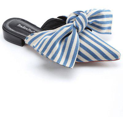 Striped Knot Color Block Mules ShoesWomens Flats<br>Striped Knot Color Block Mules Shoes<br><br>Closure Type: Slip-On<br>Embellishment: Bow<br>Flat Type: Slingbacks<br>Gender: For Women<br>Heel Height: 3CM<br>Heel Height Range: Low(0.75-1.5)<br>Occasion: Casual<br>Package Contents: 1 x Mules Shoes (pair)<br>Pattern Type: Striped<br>Season: Spring/Fall<br>Shoe Width: Medium(B/M)<br>Toe Shape: Pointed Toe<br>Toe Style: Closed Toe<br>Upper Material: Synthetic<br>Weight: 1.2000kg