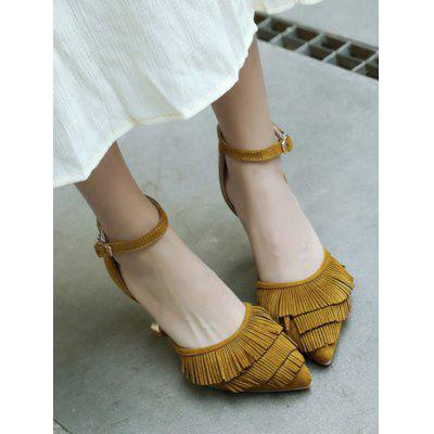 Ankle Strap Pointed Toe Fringe High Heel SandalsWomens Sandals<br>Ankle Strap Pointed Toe Fringe High Heel Sandals<br><br>Closure Type: Buckle Strap<br>Embellishment: Fringed<br>Gender: For Women<br>Heel Height: 9CM<br>Heel Height Range: High(3-3.99)<br>Heel Type: Strange Style<br>Occasion: Casual<br>Package Contents: 1 x Sandals (pair)<br>Pattern Type: Solid<br>Sandals Style: Ankle Strap<br>Style: Fashion<br>Upper Material: Suede<br>Weight: 1.5000kg