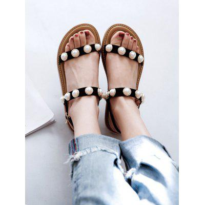 PU Leather Faux Pearl Two Strap SandalsWomens Sandals<br>PU Leather Faux Pearl Two Strap Sandals<br><br>Closure Type: Buckle Strap<br>Gender: For Women<br>Heel Type: Flat Heel<br>Occasion: Casual<br>Package Contents: 1 x Sandals (pair)<br>Pattern Type: Others<br>Sandals Style: Gladiator<br>Style: Fashion<br>Upper Material: PU<br>Weight: 1.1400kg