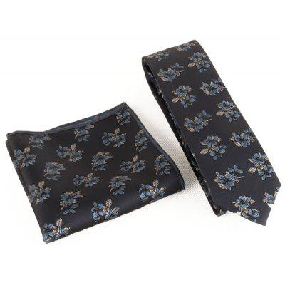Blooming Floral Silky Necktie and Handkerchief Set