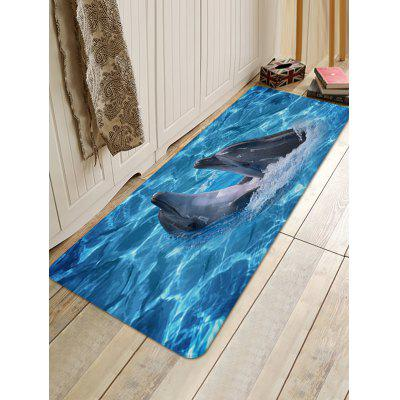 Two Dolphins Playing in Ocean Print Floor Rug playing together