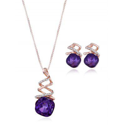 Rhinestone Alloy Necklace and Earring Set