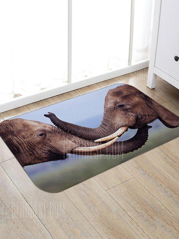 Two Elephants Playing Print Floor Rug, DEEP BROWN, Home & Garden, Home Textile, Bedding, Blankets & Throws