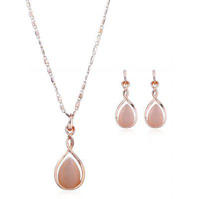Faux Opal Teardrop Necklace and Earring Set