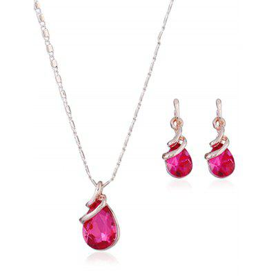 Faux Gem Alloy Teardrop Necklace and Earring Set