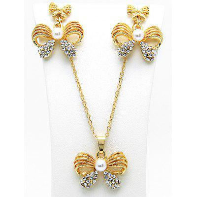 Faux Pearl Rhinestone Bows Necklace and Earring Set