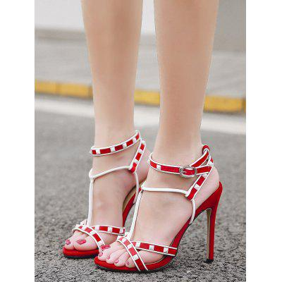 Studded Stiletto Heel T Strap SandalsWomens Sandals<br>Studded Stiletto Heel T Strap Sandals<br><br>Closure Type: Buckle Strap<br>Embellishment: Rivet<br>Gender: For Women<br>Heel Height: 11CM<br>Heel Height Range: Super High(Above4)<br>Heel Type: Stiletto Heel<br>Occasion: Party<br>Package Contents: 1 x Sandals (pair)<br>Pattern Type: Patchwork<br>Sandals Style: Ankle Strap<br>Shoe Width: Medium(B/M)<br>Style: Fashion<br>Upper Material: Suede<br>Weight: 1.5000kg