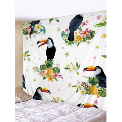 Pineapples Flowers and Birds Printed Wall Art Tapestry