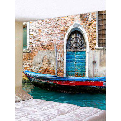 Ancient Boat House River Print Tapestry
