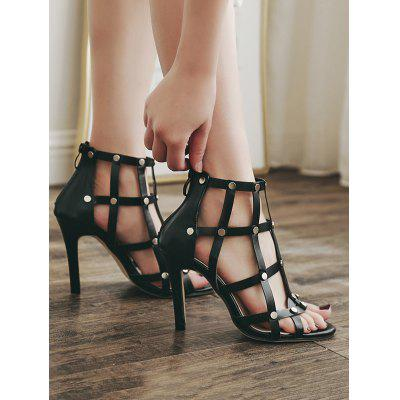 Back Zip Studded Stiletto Heel Gladiator SandalsWomens Sandals<br>Back Zip Studded Stiletto Heel Gladiator Sandals<br><br>Closure Type: Zip<br>Gender: For Women<br>Heel Height: 10CM<br>Heel Height Range: High(3-3.99)<br>Heel Type: Stiletto Heel<br>Occasion: Casual<br>Package Contents: 1 x Sandals(pair)<br>Pattern Type: Others<br>Sandals Style: Gladiator<br>Style: Fashion<br>Upper Material: PU<br>Weight: 1.5000kg