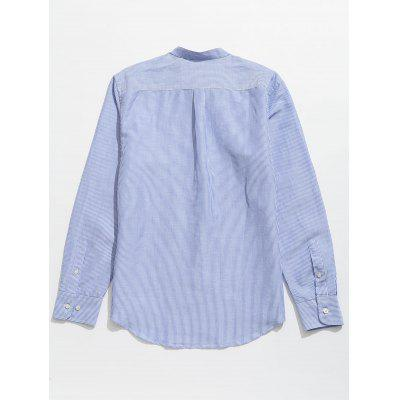 Button Up Pinstriped ShirtMens Shirts<br>Button Up Pinstriped Shirt<br><br>Collar: Stand Collar<br>Material: Cotton, Linen<br>Package Contents: 1 x Shirt<br>Shirts Type: Casual Shirts<br>Sleeve Length: Full<br>Weight: 0.3200kg