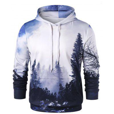 Drawstring 3D Forest Print Hoodie