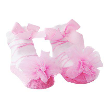 Sweet Gauze Ball Bowknot Knited Baby Girls Socks