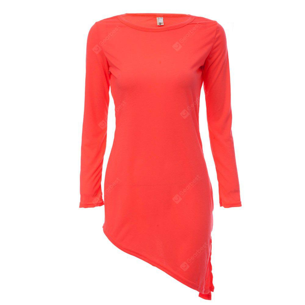 Simple Scoop Collar Long Sleeve Solid Color Bowknot Women Mini Dress, RED, L, Apparel, Women's Clothing, Women's Dresses, Long Sleeve Dresses