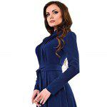 Stand Collar Long Sleeve Lace-Up Color Chiffon Women Maxi Dress - DEEP BLUE
