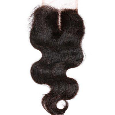 Buy BLACK Middle Part Brazilian Swiss lace Clousre Body Wave Extension Human Remy Hair Weave for $36.89 in GearBest store