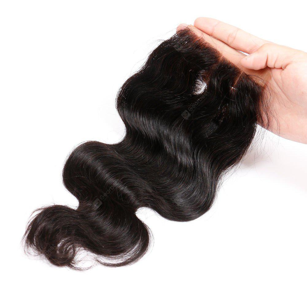 Three Part Brazilian Swiss Lace Closure Body Wave Human Remy Hair Weave 12INCH CRIMSON