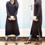 Buy Casual Turn Collar Long Sleeve Solid Color Women Shirt Dress M BLACK
